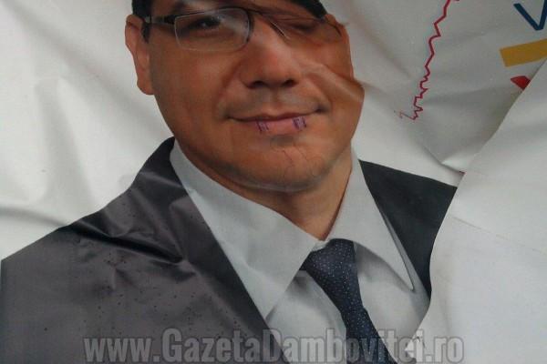 Victor Ponta atacat în fața sediului PSD Dâmbovița,  din centrul municipiului