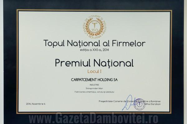 Carpatcement a primit Premiul Național de la Camera de Comerț și Industrie a României