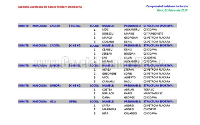 rezultate kumite masculin3-2015