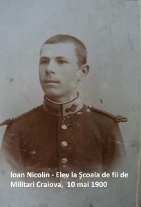 Ioan Nicolin - Elev la Şcoala de fii de Militari Craiova, 10 mai 1900