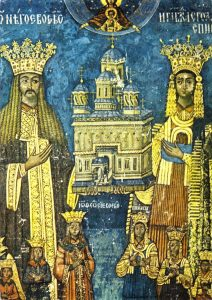 Tablou votiv reprezentindu-l pe Neagoe Basarab si familia. Fresca originala  din 1526.
