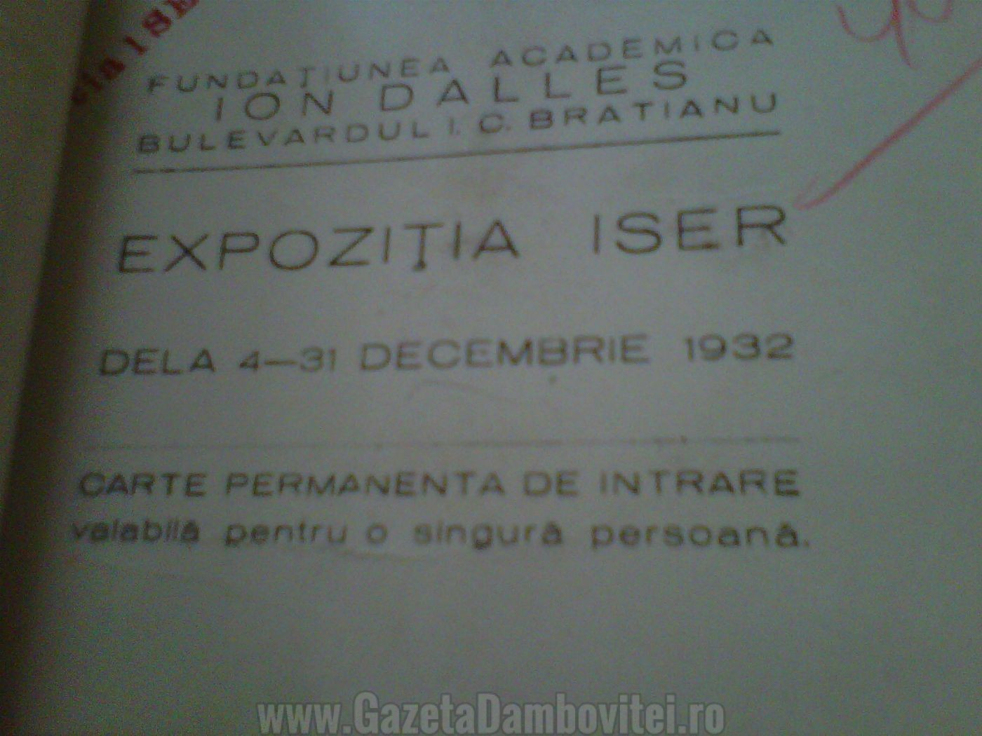 Expoziția ISER-Carte permanentă de intrare 1932 - Arhivele Naționale București