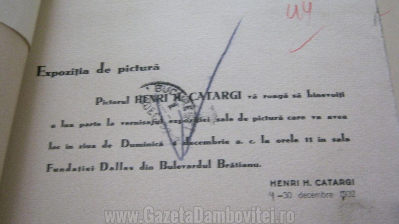 Expoziție de pictură Henri Catargi 1932 -Arhivele Naționale Istorice Centrale București