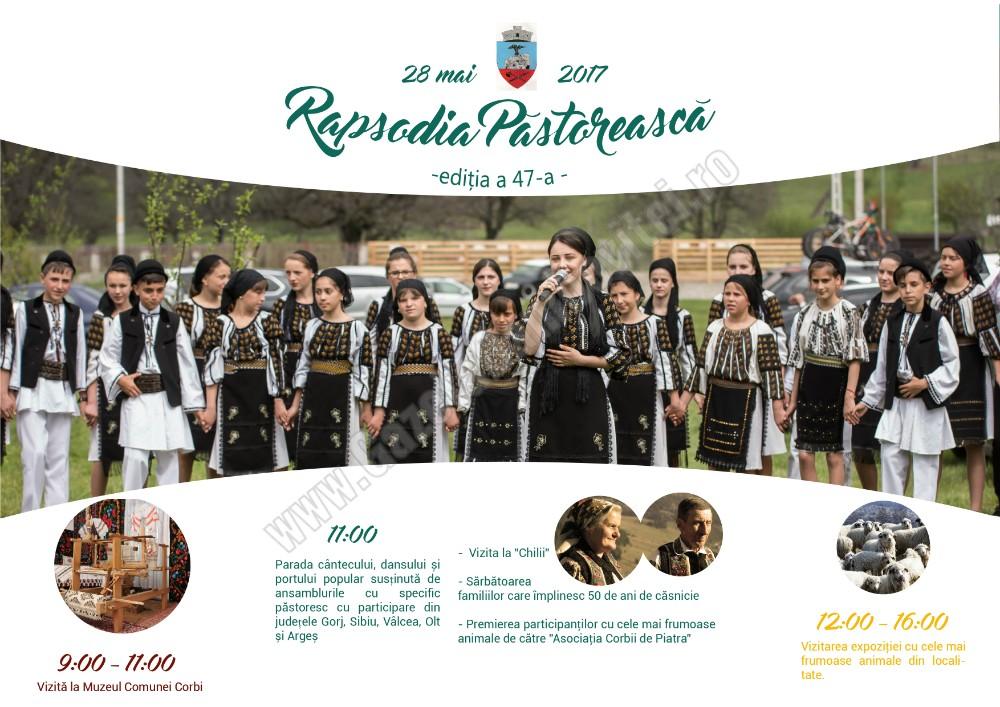 Duminică,  28 mai, are loc cea de – a 47-a ediție a Rapsodiei Păstorești din Corbi