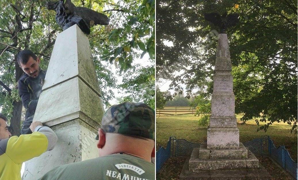 FOTO: Asociația Neamunit a curățat monument închinat elevilor nuceteni morți în Primul Război Mondial
