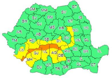 Dâmbovița sub avertizare meteo de Cod Galben în sud și Cod Portocaliu în nord