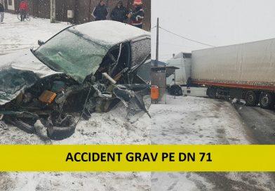 Trafic blocat pe DN 71, în urma unui accident rutier. Două persoane sunt rănite