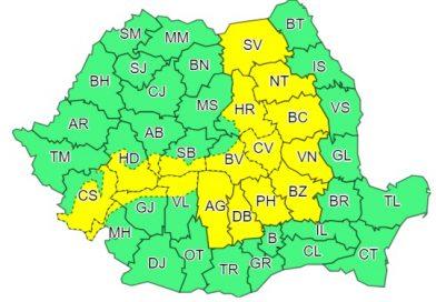 Se menține avertizarea meteo Cod Galben, valabilă pentru județul Dâmbovița