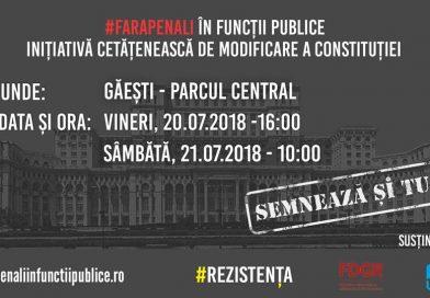 """Voluntarii inițiativei """"Fără penali în funcții publice"""" vin, vineri și sâmbătă, la Găești"""