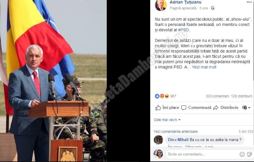 Sute de oameni îi aruncă cuvinte grele lui Adrian Țuțuianu pe pagina sa de facebook