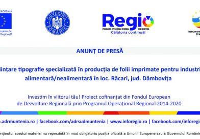 REGIO: Înființare tipografie specializată – Anunt de presa SOLO EX-IM SRL 13010.2018