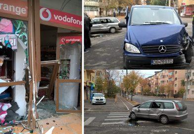 TÂRGOVIȘTE: O mașină a intrat într-un magazin, în urma unui accident rutier