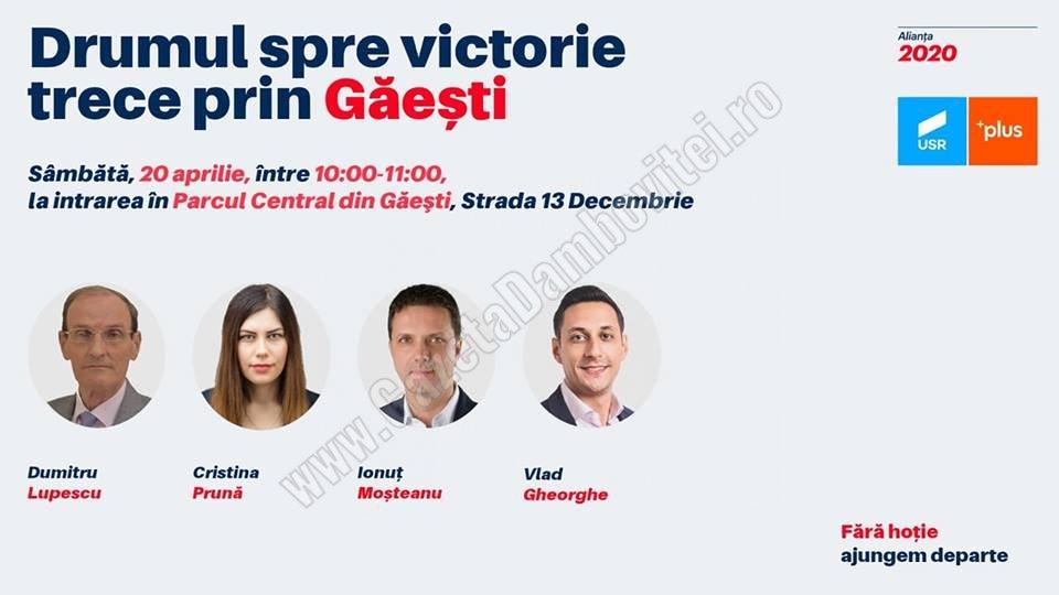 Euroalegeri 2019: Sâmbătă, Alianța USR – PLUS stă de vorbă cu oamenii din Găești