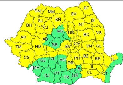 O nouă avertizare meteo Cod Galben, în vigoare în Dâmbovița