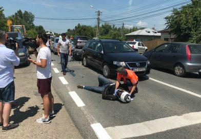 Motociclist rănit grav într-un accident la Răcari, pe DN 71