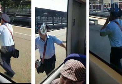 """VIDEO Cascadorii râsului la CFR! """"Naș"""", disperat să urce în tren, după ce garnitura București – Târgoviște a plecat fără el"""
