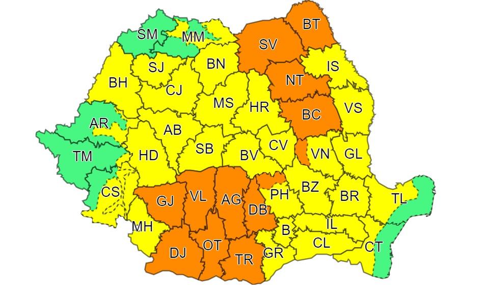 Meteorologii anunță Cod Portocaliu pentru județul Dâmbovița