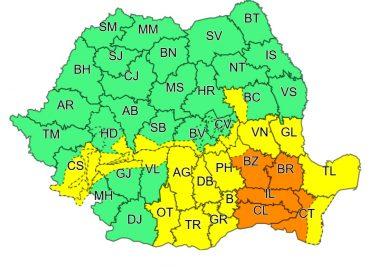 Dâmbovița rămâne sub avertizare meteo Cod Galben până la ora 23:00