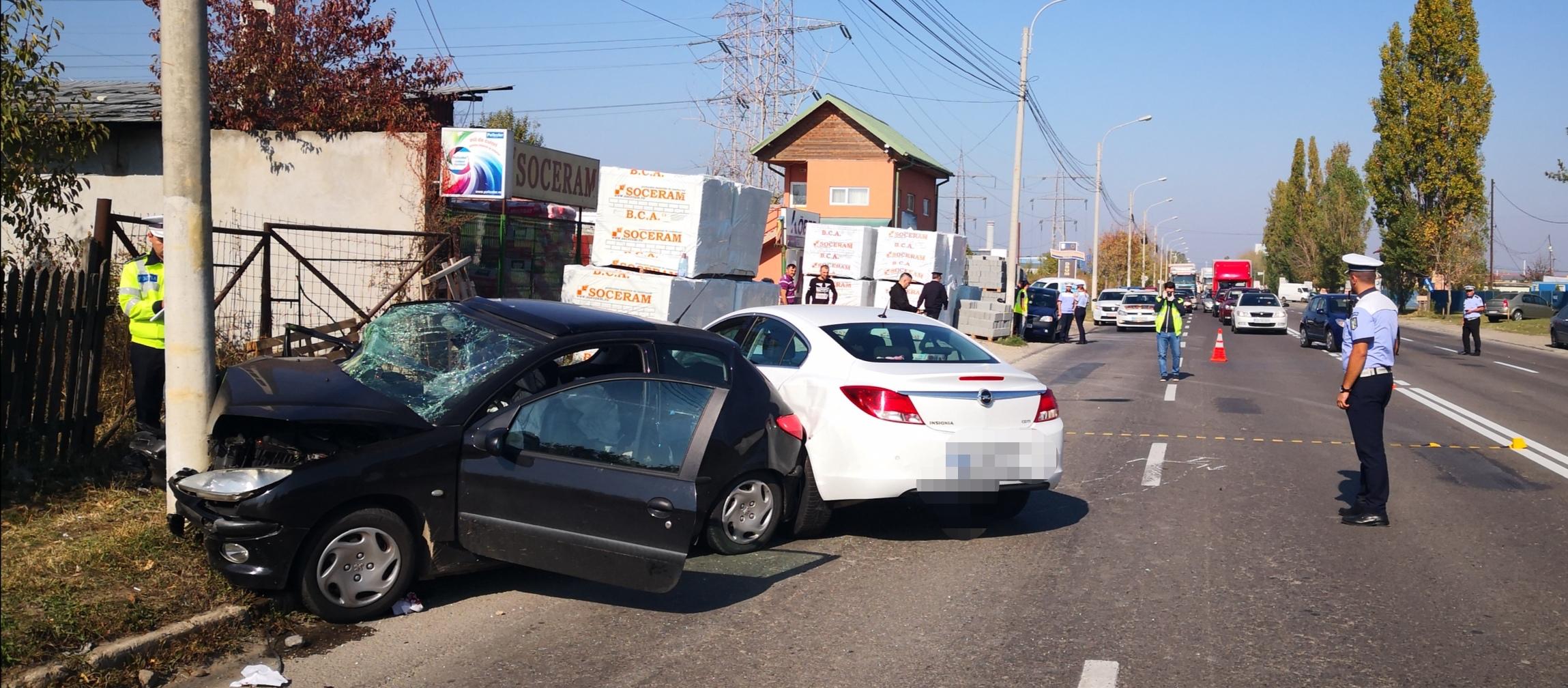Târgoviște: Minor accidentat într-o coliziune dintre 2 autoturisme