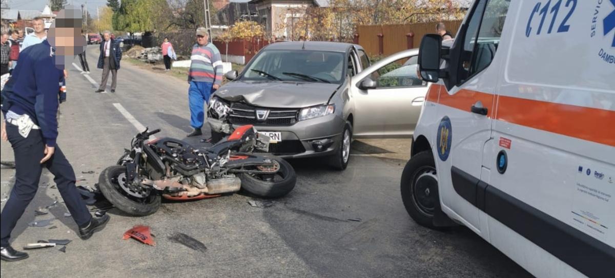 GĂEȘTI : Motociclist ajuns în comă la spital