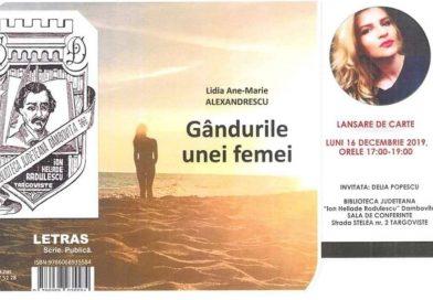 """""""Gândurile unei femei"""", lansare de carte la Biblioteca Județeană Dâmbovița"""