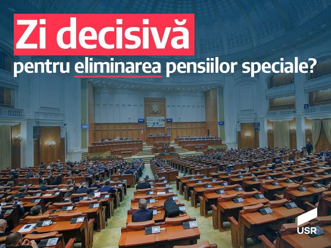 USR Dâmbovița, mesaj înainte de votul deputaților pe eliminarea pensiilor speciale