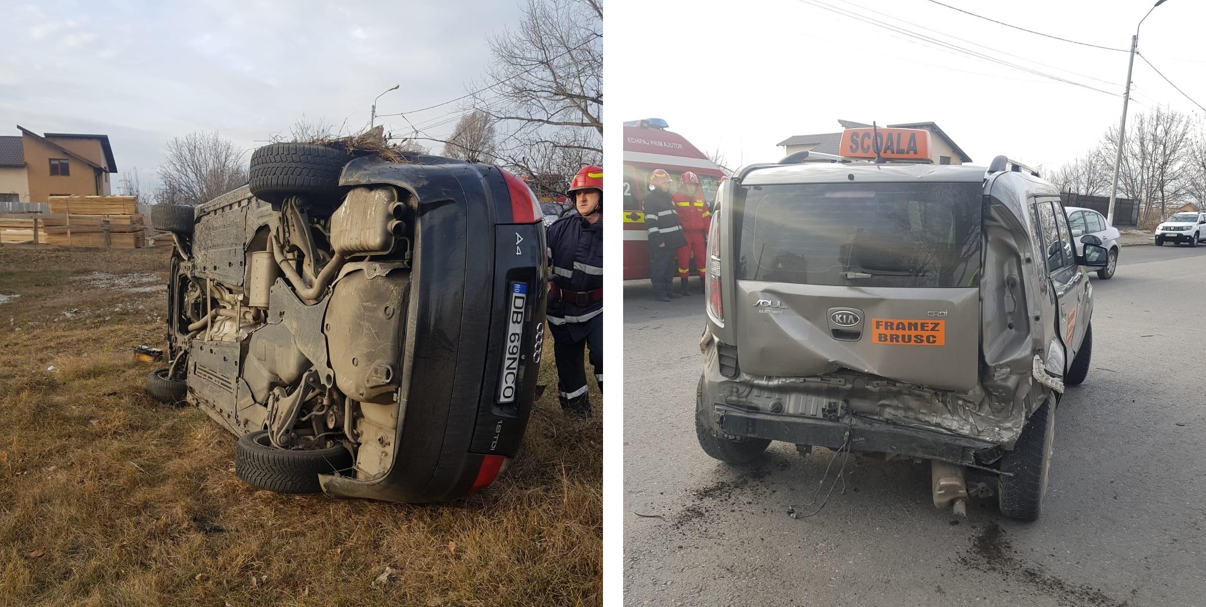 TÂRGOVIȘTE: O mașină – școală a fost lovită de un autoturism care, ulterior, s-a răsturnat