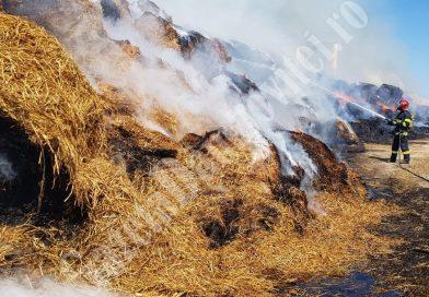 De trei ore, pompierii încearcă să stingă un incendiu într-o fermă din Nucet