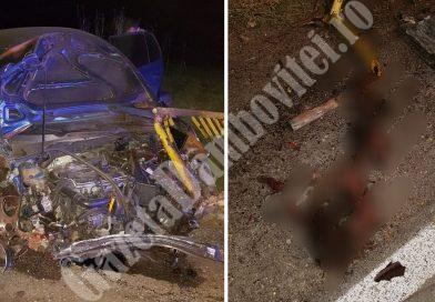 Mașină făcută zob după ce a lovit un mistreț. Șoferul a avut zile