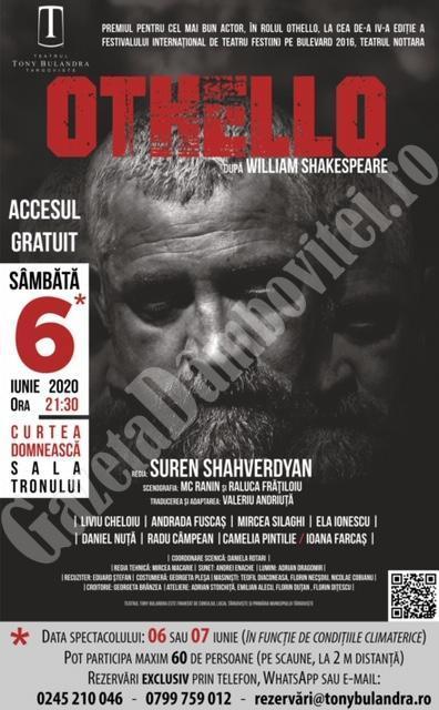 Teatrul Tony Bulandra își reia activitatea. Prima piesă: Othello!