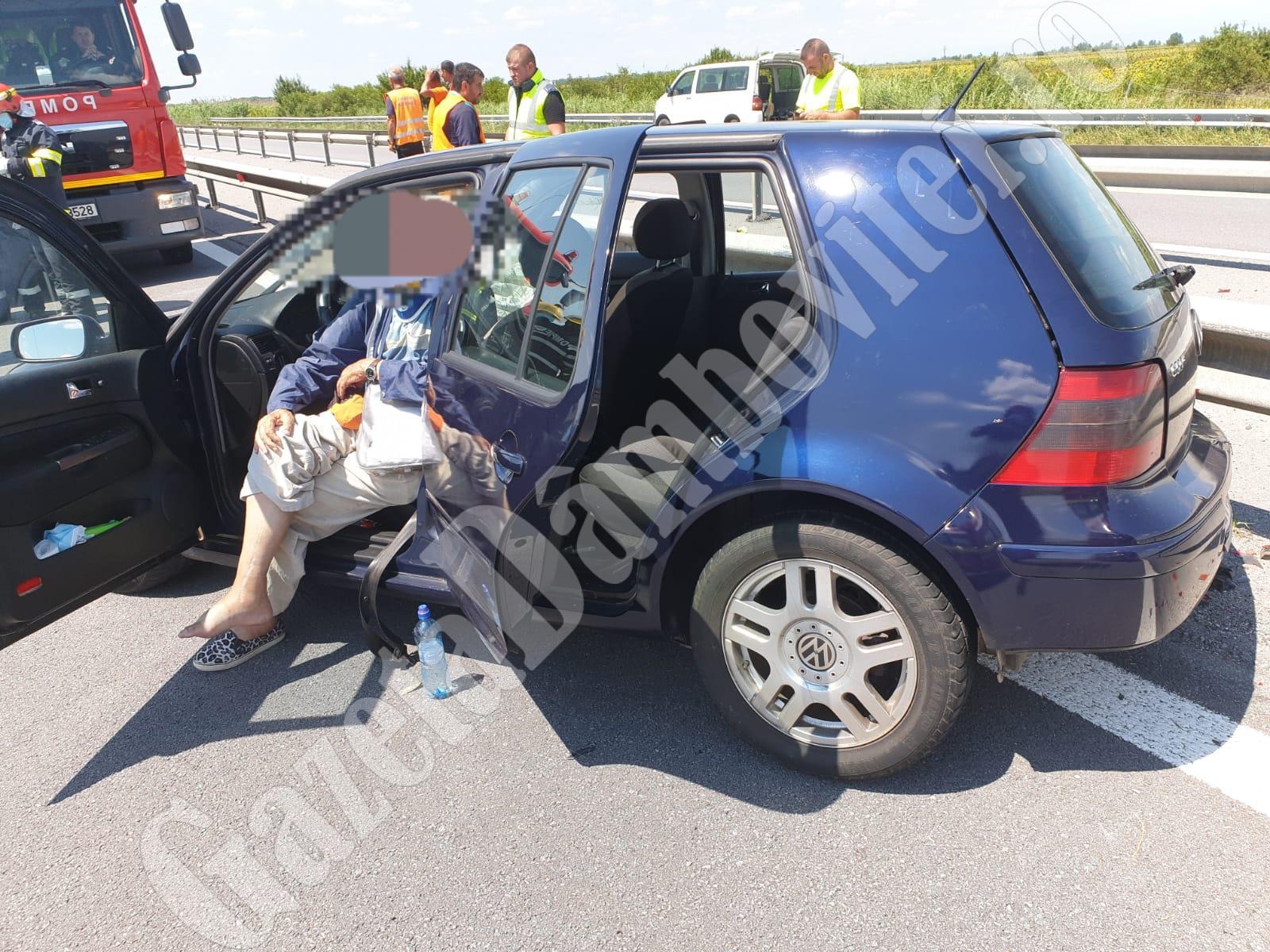 Accident pe Autostradă: Un șofer a intrat în glisiera care desparte benzile