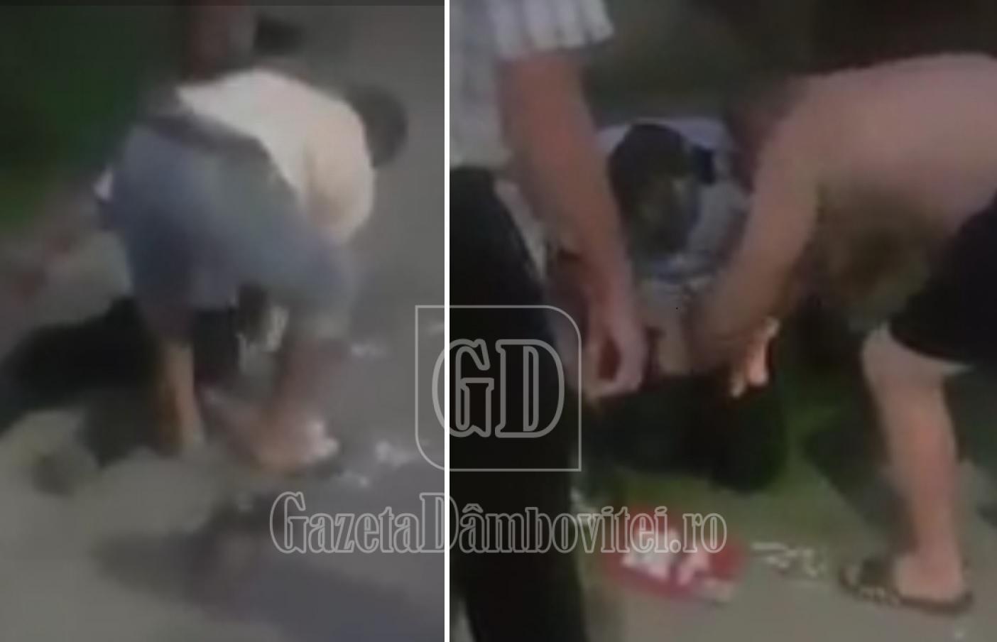 VĂCĂREȘTI – Imagini șocante cu polițiștii, imediat după atac. Localnicii au sărit să îi ajute