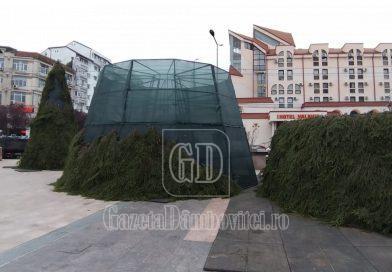 Vin sărbătorile, vin! Primăria Târgoviște a început montarea Bradului de Crăciun