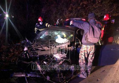 GHIMPAȚI: S-a lovit cu BMW-ul de un copac! Intervine descarcerarea
