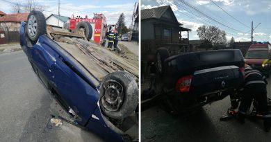 GĂEȘTI: Șoferița care s-a răsturnat cu mașina, adormise la volan