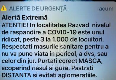 Mesaj RoAlert, după depășirea incidenței peste 3/mie în comuna Răzvad