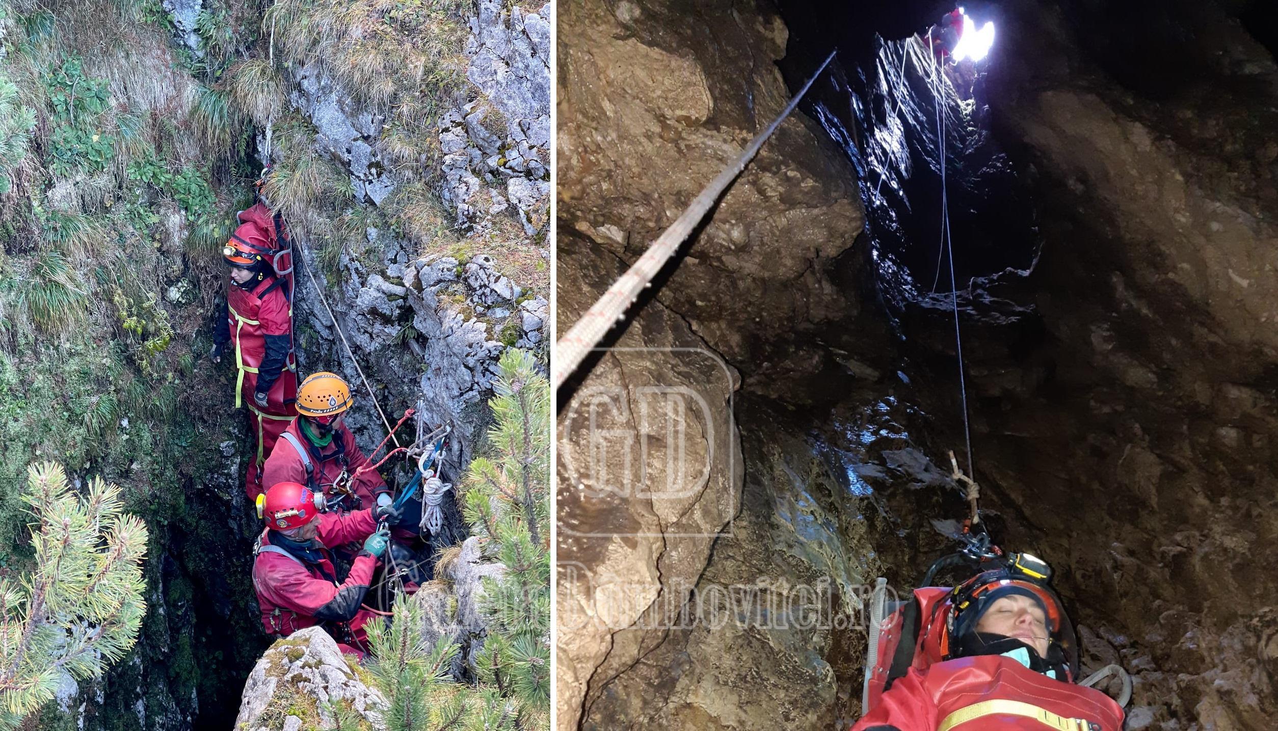 Exercițiu de salvare în Avenul de sub Colții Țapului, cel mai adânc aven din județul Dâmbovița