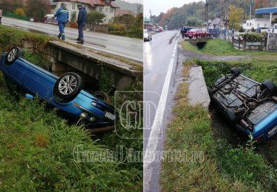 S-a răsturnat cu mașina pe DN 71