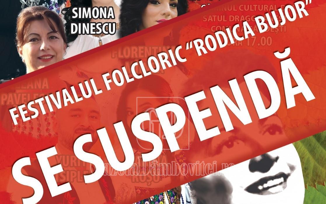 """Organizatorii suspendă Festivalul """"Rodica Bujor"""", care trebuia să aibă loc la Cândești"""